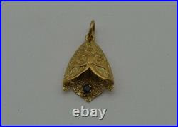 14 Kt Gold Vintage Filigree Tulip With Sapphire Pendant Charm (ch492)