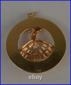 14K GOLD VINTAGE GRACEFUL BALLERINA PENDANT WITH RUBIES, AND PEARLS (ch507)