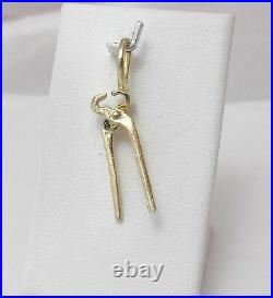 14K Gold Articulated Pliers Vintage Tool Charm Pendant