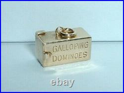 14k YELLOW GOLD 3D VINTAGE DICE IN BOX CASE CHARM opens