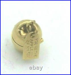 14k Yellow Gold Vintage Movable Apple Charm with Red Heart Inside (BTS324)