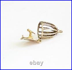 9ct 375 Vintage Gold Articulated Opening Birdcage Charm