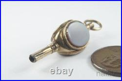 ANTIQUE ENGLISH GOLD FILLED AGATE WATCH KEY FOB CHARM c1870