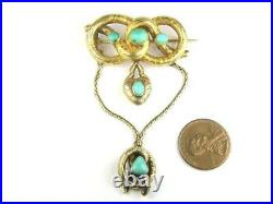 ANTIQUE ENGLISH VICTORIAN 15K GOLD TURQUOISE KNOT BROOCH with HEART CHARM c1860