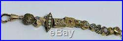 Antique 14K Gold Victorian Slider Watch Chain with (12) Gem-Encrusted Charms