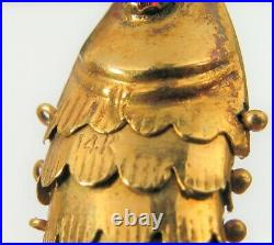 Antique Asian 14k Yellow Gold Red Ruby Eye Articulated Fish Charm Pendant Lucky