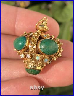 Antique Etruscan 18K Yellow Gold Opal & Turquoise Ornate Fob Crown Charm Pendant