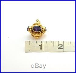 Antique Etruscan Revival Amethyst Watch Fob Pendant Charm 18k Yellow Gold