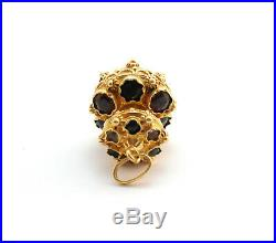 Antique Etruscan Revival Tourmaline Amethyst Charm Fob 18k Yellow Gold