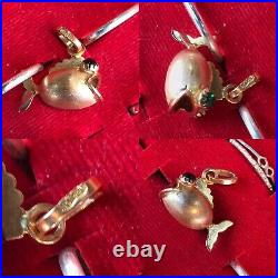 Antique Or Vintage Style 18ct Yellow Gold Pendant Or Charm Fish With Green Eyes