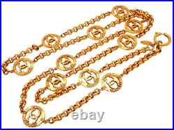 Authentic Vintage Chanel necklace chain 11 of CC logo charms #ne3009