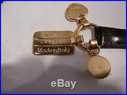 Authentic Vintage Moschino by Redwall Black Leather Gold Charms Sz 32-37 ITALY