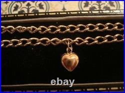 Beautiful, Vintage 1989 9CT Gold Charm Bracelet With Heart Charm & Locket Clasp