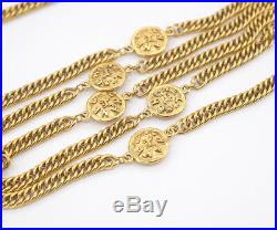 CHANEL CC Logos Coin charm Necklace 70 inch long Gold Tone Vintage b4225