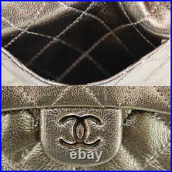 CHANEL Quilted Mini Chain Pouch Bag Charm Gold Leather Authentic #PP379 O