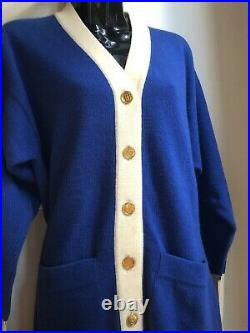 CHANEL VINTAGE 80s GOLD Purse Buttons 38 40 4 6 8 Top CARDIGAN SWEATER JACKET 90