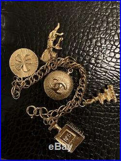 CHANEL VINTAGE Double Chain Adjustable Gold Tone Charm Bracelet With Box