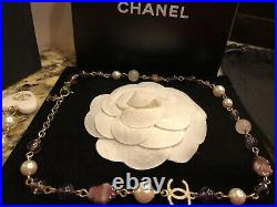 CHANEL Vintage 07A GRIPOIX 19 Pearl Long Glass BEAD GOLD Charm NECKLACE Lot