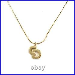 Christian Dior Logo CD Gold Necklace Vintage Signed Authentic