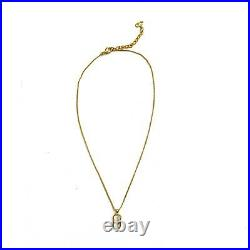 Christian Dior Vintage CD Logo Gold Necklace Signed Authentic