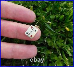 Extremely Rare C. 1900 Victorian 14K Gold Enamel JOKER Playing Card Game Charm