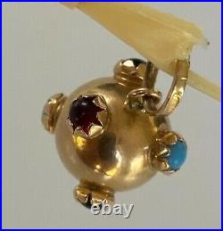 RARE OLD VINTAGE 18ct gold charm pendant cabachon stones emerald ruby turquoise