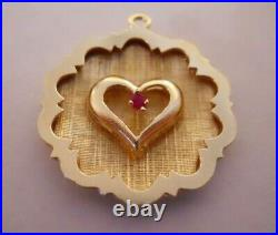 RARE Vintage 14k Gold HEART WITH RUBY SHADOW BOX Bracelet Charm 3.8 Gr #20103