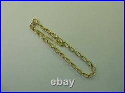 RARE Vintage 14k Yellow Gold PAPER CLIP STYLE CHARM BRACELET 7.25 In 4.4g #20026