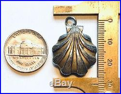 Rolled gold Sea shell fob with hidden compass. Novelty. Antique pendant charm