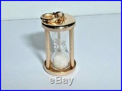 VINTAGE 14k YELLOW GOLD 3D HOURGLASS CHARM PENDANT sand moves