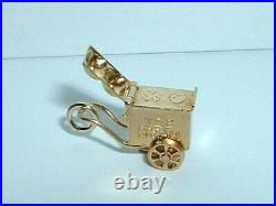 VINTAGE 14k YELLOW GOLD 3D MOVEABLE ICE CREAM WAGON CART CHARM