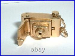 VINTAGE 14k YELLOW GOLD 3D PHOTO PICTURE CAMERA PENDANT CHARM opens