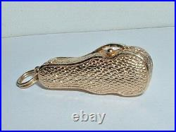 VINTAGE 14k YELLOW GOLD 3D VIOLIN IN CASE WITH BOW PENDANT CHARM opens