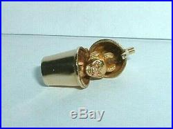 VINTAGE 14k YELLOW GOLD DEVIL IN COCKTAIL SHAKER CHARM opens to a devil