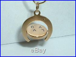VINTAGE 14k YELLOW GOLD I LOVE YOU SPINNER HORSESHOE CHARM PENDANT spins