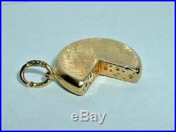 VINTAGE 18k YELLOW GOLD 3D WHEEL OF SWISS CHEESE PENDANT CHARM