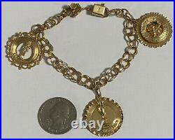VINTAGE 1950s 14K Yellow Gold 7 Charm Bracelet with Three Charms LOOK