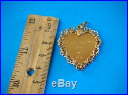 VINTAGE LADIES 14K YELLOW-GOLD HEART CHARM with PEARLS BEAUTIFUL 7.3 GRAMS