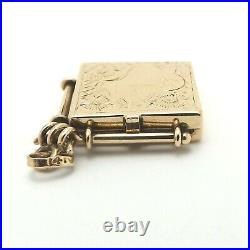 Victorian 14k Gold Hair Mourning Photo Picture Locket Fob Charm Pendant