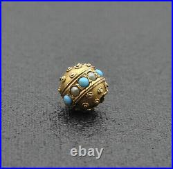 Victorian 14k Solid Gold Etruscan Turquoise, Pearl Slide Pendant Charm