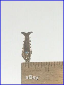 Vintage 10 kt Yellow Gold Articulated Moving Fish Pendant Charm, Turquoise Eyes