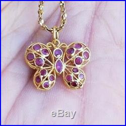 Vintage 10K Yellow Gold Ruby Antique Charm Butterfly Pendant Necklace 1.33 gram