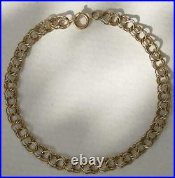 Vintage 14K Solid Yellow Gold 7-1/8 DOUBLE LINK Fig 8 RINGS 1/4 Charm Bracelet