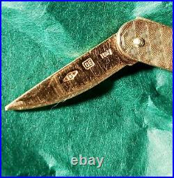 Vintage 14K Solid Yellow Gold Moveable Pocket Knife Charm Pendant Fob