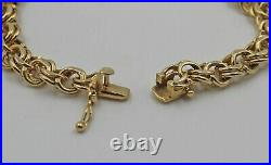Vintage 14K Yellow Gold Double Cable Link Chain Charm Heart Bracelet 8 mm 7 ¼