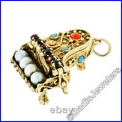 Vintage 14K Yellow Gold Multi-Color Gemstone Detailed Open Piano Charm Pendant