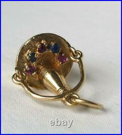 Vintage 14k Champagne Ice Bucket Ruby Sapphire Pearl Charm Moveable Handle 5.1gr