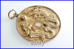 Vintage 14k Gold Chinese Coin With Dragon Lucky Charm Pendant 14karat