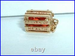 Vintage 14k Yellow Gold 3d Crate Of Fruits Of Health Oranges Charm