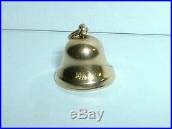 Vintage 14k Yellow Gold 3d Moveable Tinkling Bell Charm